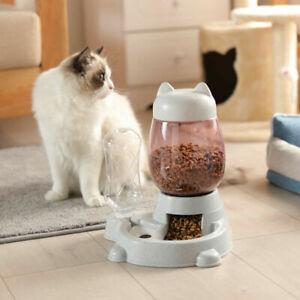 Automatic Pet Food & Water Dispenser Dog Cat rabbit feeder bottle Bowl Dish 2.2L
