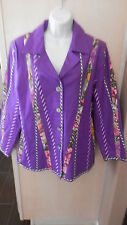 NWT KOOS of Course!! Purple Lined Jacket w/Fabric Design on Front Size Medium