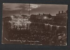 Clacton on Sea Band stand by night crowd RP photo vintage  postcard qa78