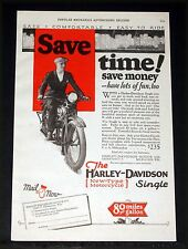 1927 OLD MAGAZINE PRINT AD, HARLEY-DAVIDSON MOTORCYCLES, SAVES TIME AND MONEY!