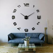 3D Design Wanduhr Deko Spiegel Edelstahl Uhr Wandtattoo Wand Uhr Groß XXL XL C18