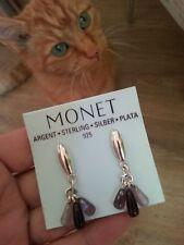 """""""Monet"""" 925 Silver Briolette Amethyst Cluster Drop Pierced Earrings"""