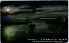 MICHIGAN CITY, Indiana  IN   LIGHTHOUSE & Fog Horn  Piers at Night 1911 Postcard