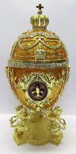 prachtvolle Spieluhr im Stil eines Faberge Ei, golden mit Löwen und Krone NEU