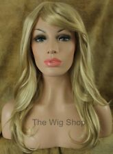 Platinum 613 Butterscotch 24 Blonde Mix Wig Bangs Layers Skin Top Kanekalon HS