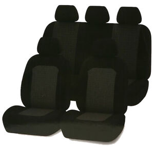 Kia Mentor Shuma Sedona - Seat Covers Front & Back w Headrests Black Air Bag Com