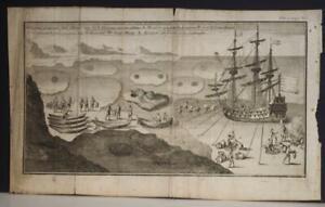 ARCTIC CANADA INUITS 1712 WILLIAM DAMPIER ANTIQUE ORIGINAL COPPER ENGRAVED VIEW