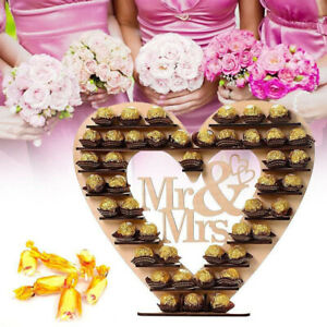 Chocolate Candy Sweet Cake Display Table Heart Wooden Stand Holder Wedding Decor