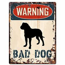 PP2343 WARNING BAD DOG Plate Sign Rustic Chic Sign Home Door Gate Decor Gift