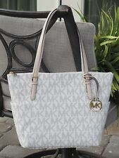 MICHAEL KORS JET SET EAST WEST EW ZIP TOTE BAG PURSE SIGNATURE PVC VANILLA