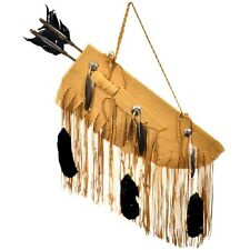 Buckskin Quiver Plains Indian Style  with Arrows Concho Bone Knife Feathers