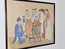 ANTIQUE CHINESE  PAINTING ON RICE PAPER OF FAMILY GIVING WEDDING/ SINGAPORE