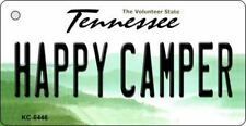 Happy Camper Tennessee State Background Novelty Metal Key Chain
