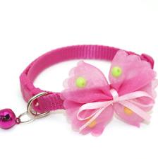 Chiffon Ribbon Bead Bow Adjustable Collar Cat Small Dog Snap Buckle Bell Cute