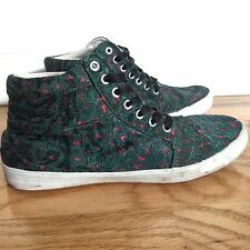 Urban Outfiters Green Floral High Top Sneakers Size 6 Womens