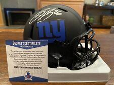Saquon Barkley Autographed New York Giants Eclipse Mini Helmet Witness Beckett 3