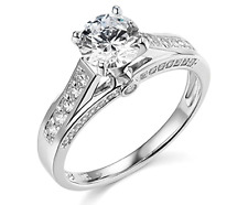 2.10 Ct Round Cut Engagement Wedding Promise Ring Solid Real 14K White Gold