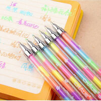 Awesome 1X Cute Highlighter Pen Marker Stationary Point Pen Ballpen 6Color 、New