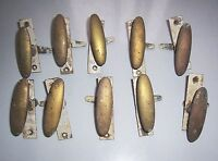 10 antike Messing Fenstergriffe Fensteroliven Bauhaus Vintage Art Deco !