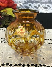 "Nachtman Bleikristal ""Amber Cut to Clear"" Vase 4 1/4"""