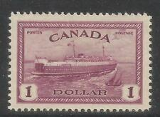 Canada 1946 King George VI $1 Train Ferry--Attractive Ship Topical (273) MH
