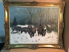 Beautiful German Oil Painting with Wild boars in the Forest