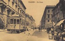9800) PALERMO VIA ROMA AFFOLLATA TRAM CINEAC BANCHETTO VENDITA DOLCI (?) VG 1916
