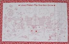 LOVE GARDEN GROW Red Patchwork Quilting Sewing Fabric Panel 60x110cm NEW Country