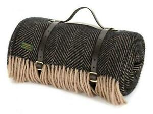 Carrying Strap for picnic blanket travel rug  Black Webbing or Brown Leather