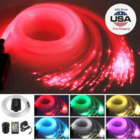 300pcs 2M LED Fiber Optic Light Star Ceiling Kit DIY Car 12v RGBW 12W Music Mode