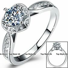 1ct Diamond Ring 21 Stones Wedding Anniversary Valentines Gifts 925 Silver R1