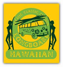 "Longboard Hawaiian Surfing Vacation Car Bumper Sticker Decal 5"" x 5"""