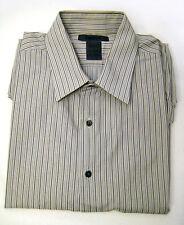 DKNY Men L 16.5 Gray Stripe Shirt Button Front Long Sleeve Slim Fit Large 34/35