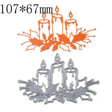 Sliver Metal Cutting Dies Christmas Burning Candle Stencils for DIY Embossing