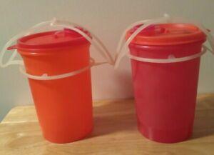 2 Tupperware Handolier Pitchers with Cariolier Handles - Orange Pink    New