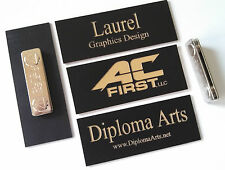 """Custom Name Tags Black w/ Gold lettering & magnetic attachment 1.25"""" x 3.25"""""""