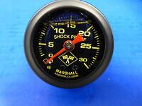 """Marshall Gauge 0-30 psi Fuel Pressure Oil Pressure 1.5"""" Midnight Black Liquid"""