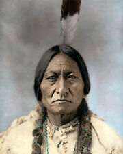 """CHIEF SITTING BULL NATIVE AMERICAN INDIAN SIOUX 8x10"""" HAND COLOR TINTED PHOTO"""