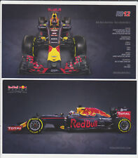 F1 Car Postcard Card RB12 Red Bull Racing Formula 1 Verstappen Ricciardo Kvyat
