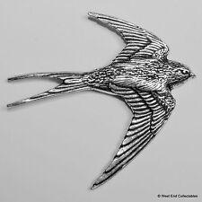 Swallow Pewter Pin Brooch - British Artisan Signed Badge - Bluebird Swift Martin