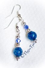 Short Dangle Earrings...Dragon Veins Gemstone ....Blue...