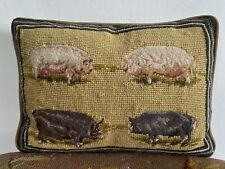 Antique needlepoint pillow with petit point pig motif