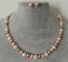 Women's 7-8mm Natura Mixed colors Freshwater Pearl Necklace Earrings Set