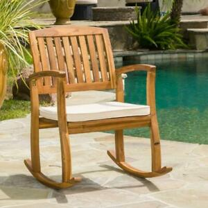 Noble House Rocking Lounge Chair Polyester Cream Cushion Teak Wood Frame Outdoor