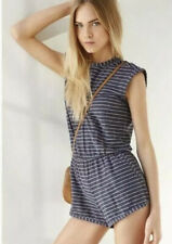 Urban Outfitters Womens Cooperative Tomboy Romper Sz Large Blue Red Striped