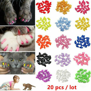 20Pcs Soft Plastic Colorful Pet Cat Nail Caps Paw Claw Kitten Protector Cover UK