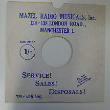 "78rpm 10"" card gramophone record sleeve / cover MAZEL RADIO MUSICALS blue/ white"