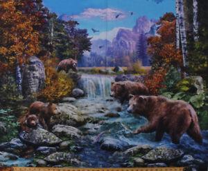"35"" X 44"" Brown Bears Animals Northwoods Wildlife Cotton Fabric Panel D566.76"