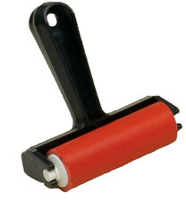 LINO ROLLER BLOCK PRINTING HARD RED RUBBER BRAYER 95mm WIDE BLACK HANDLE CR-2 ca