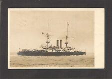 REAL-PHOTO POSTCARD:  HMS RAMILLIES - BRITISH NAVY PRE-WW-1 BATTLESHIP - Mailed